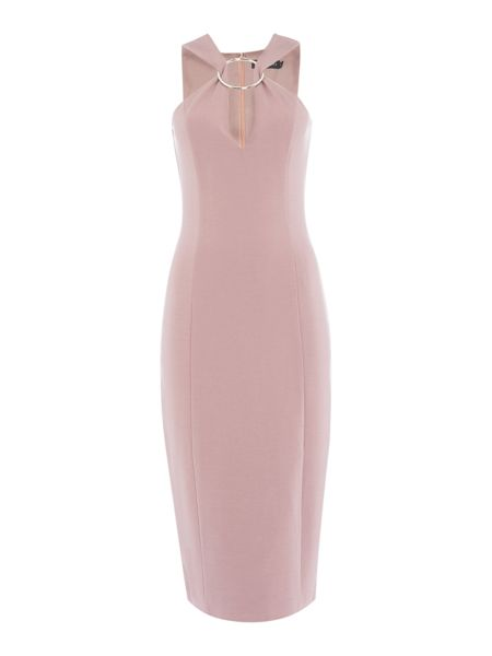 Lavish Alice Sleeveless Metal Ring Plunge Midi Dress