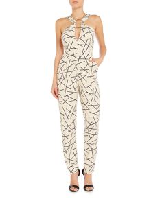 Lavish Alice Sleeveless Metal Ring Plunge Midi Jumpsuit