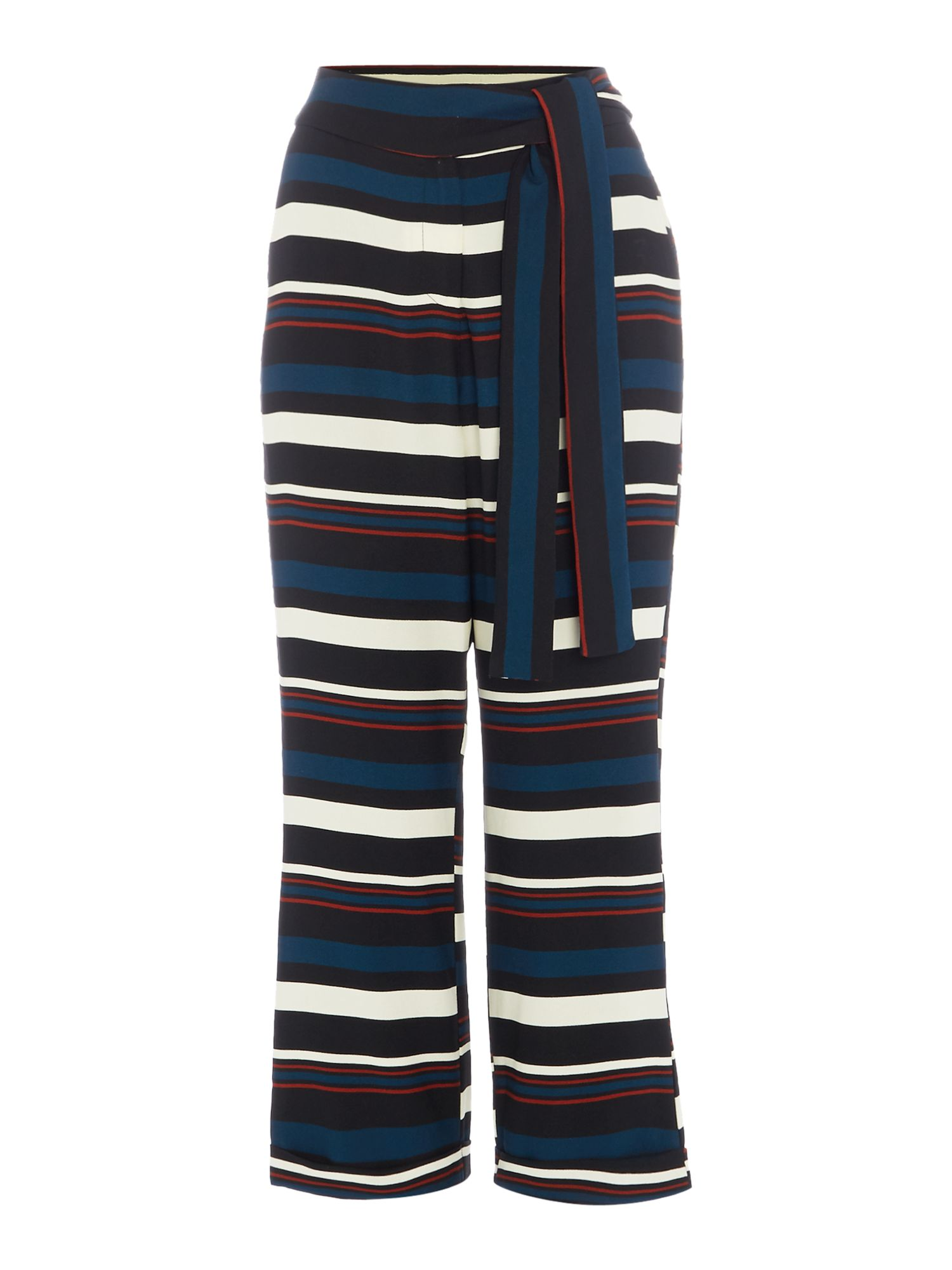 Lavish Alice Tie Waist Cropped Trousers, Multi-Coloured