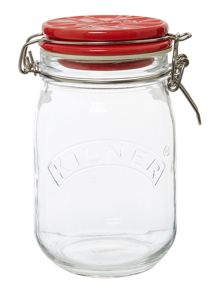 Kilner 1 Litre Union Jack Ceramic Lid Clip Top Jar, Red