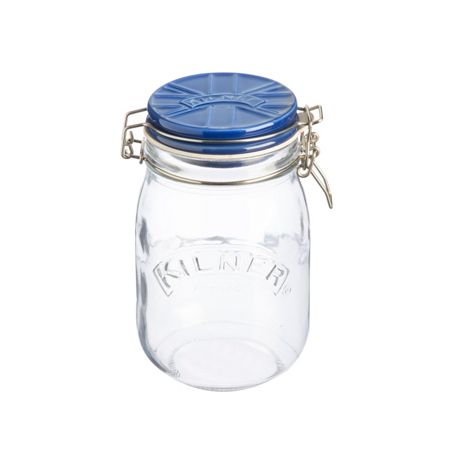 Kilner 1Litre Union Jack Ceramic Lid Clip Top Jar, Blue