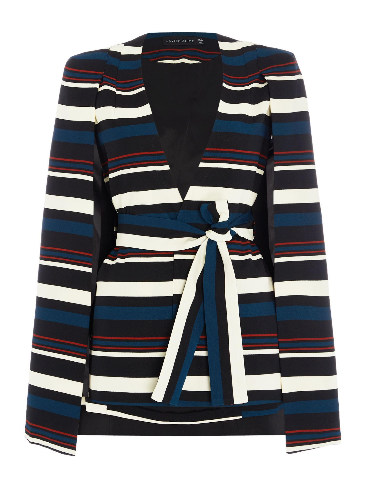 Lavish Alice Long Sleeved Blazer Tie Cape, Multi-Coloured