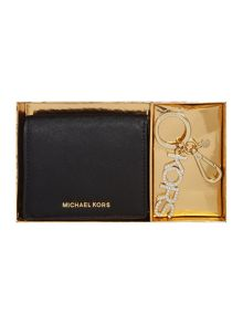 Michael Kors Black fold over purse and keyring gift set