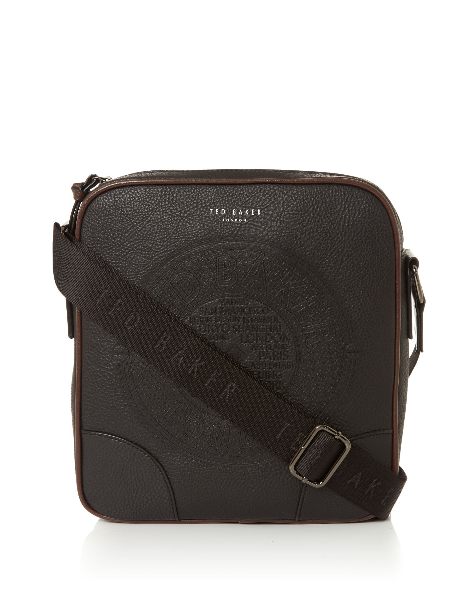 Ted Baker Embossed PU Flight Bag Black