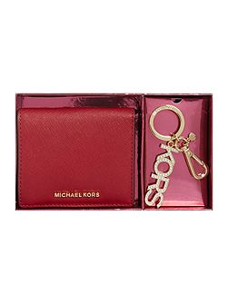 Red fold over purse and keyring gift set