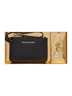 Black pouch and keyring gift set