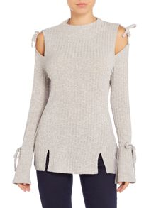 Lavish Alice Long Sleeved Cold Shoulder Ribbed Top