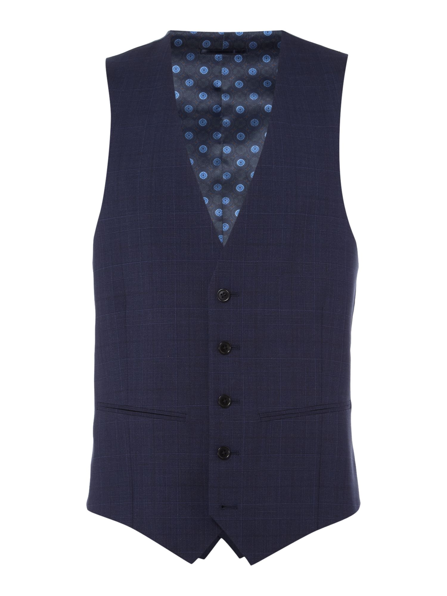 Men's Turner & Sanderson Chatsworth Tonal Checked Suit Waistcoat, Dark Blue