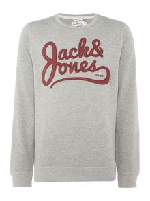 Jack & Jones Large-Logo Crew-neck Long-Sleeve Jumper