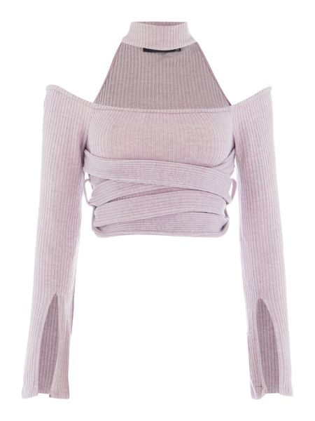 Lavish Alice Long Sleeved Cropped Top with Choker