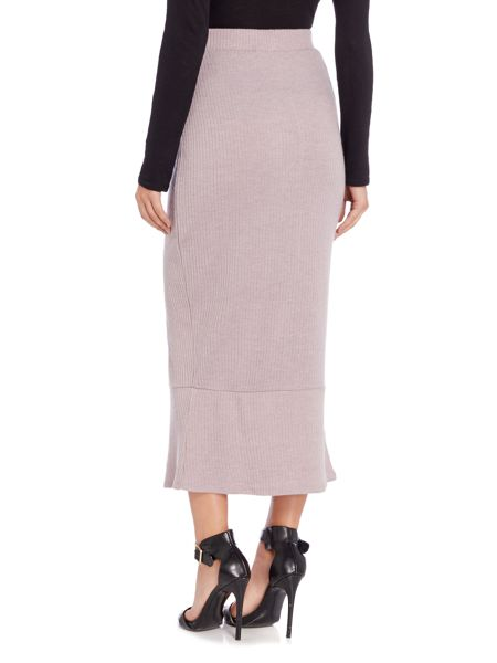 Lavish Alice Ribbed Peplum Midi Skirt