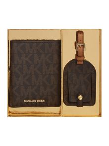 Michael Kors Brown passport holder and luggage tag gift set