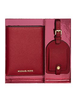 Red passport holder and luggage tag gift set