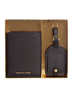 Black passport holder and luggage tag gift set