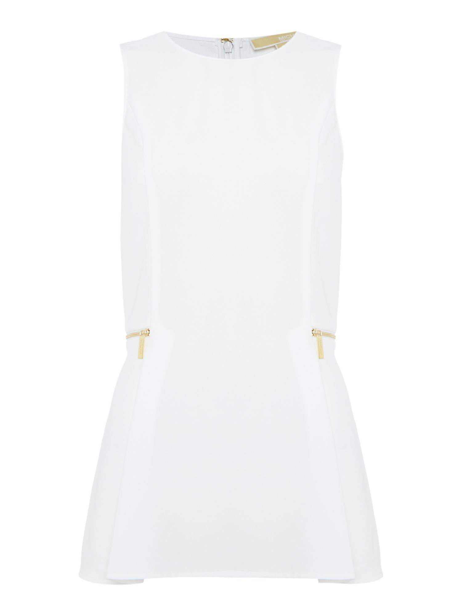 Michael Kors Sleeveless Zipper Waist Top, White