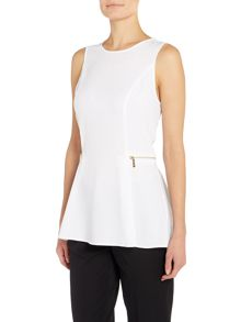 Michael Kors Sleeveless Zipper Waist Top