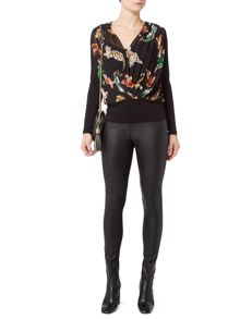 Biba Geo tigers pleated and jersey blouse