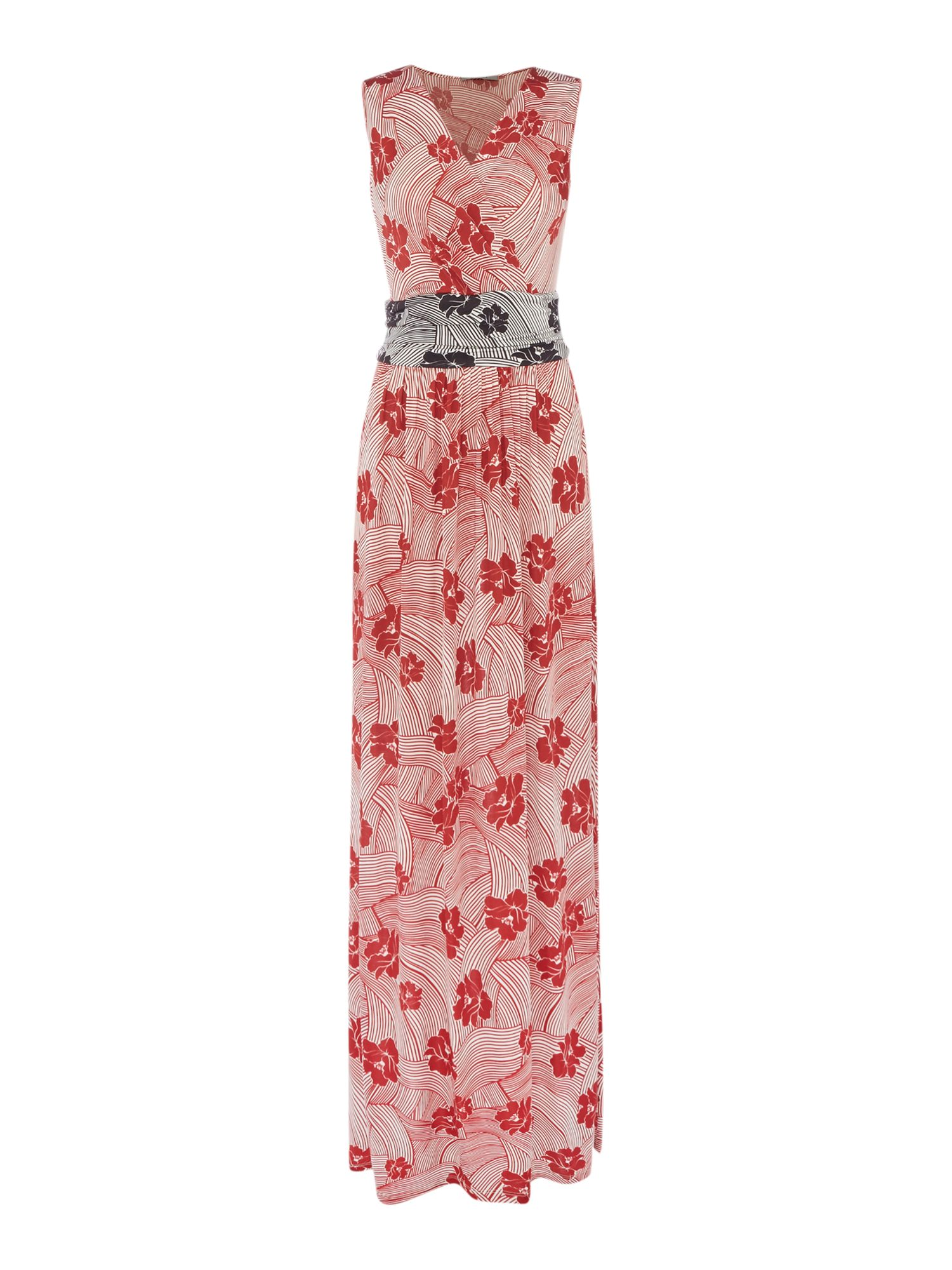 Marella FAZIO sleeveless maxi dress in floral print, Red