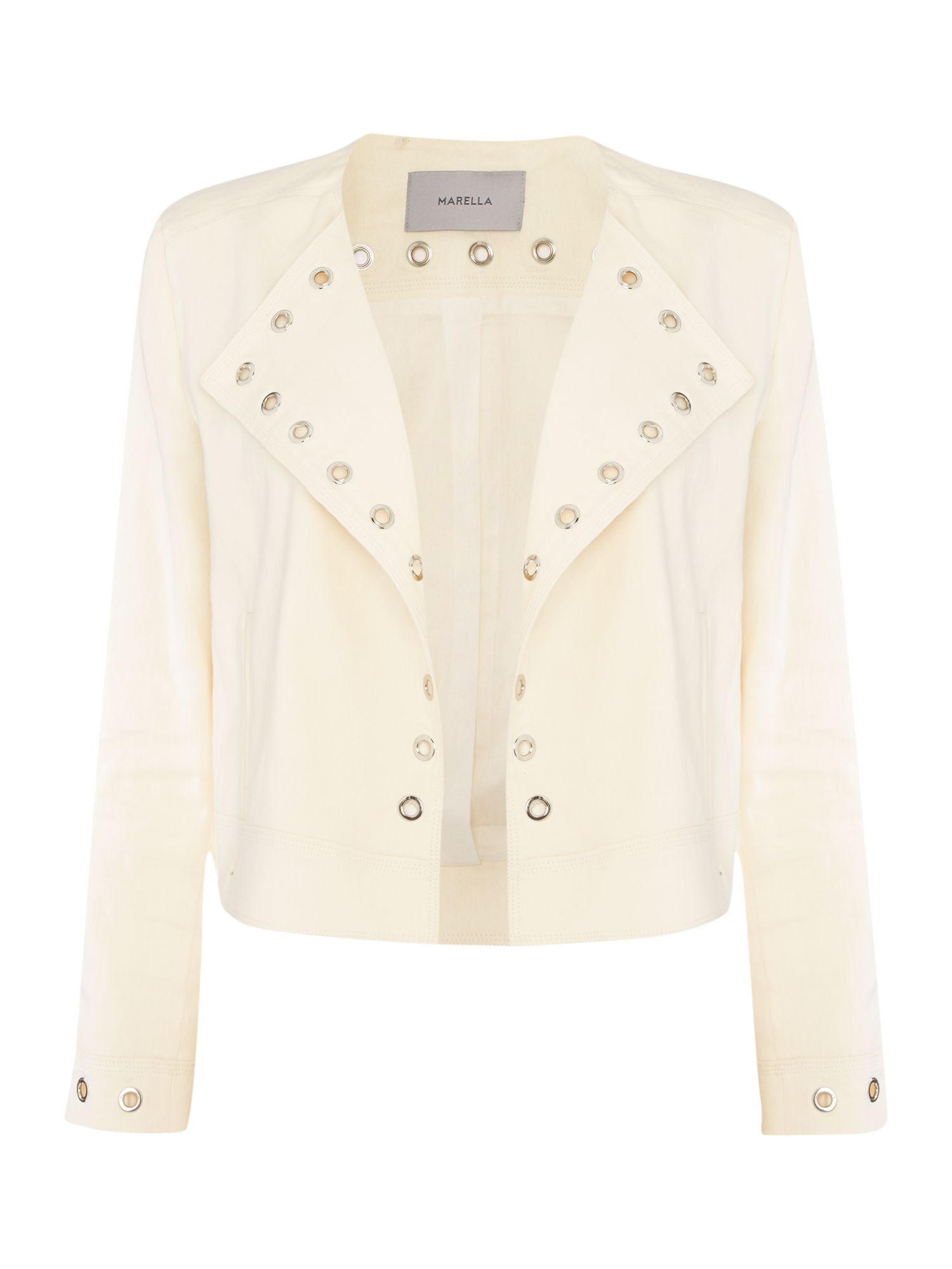 Marella LOLLY longsleeve linen mix jacket with eyelets, Cream