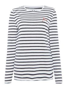 Zoe Karssen Long sleeve stripe bingo embroidery top