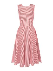Marella MAGENTA sleeveless fit and flare striped dress