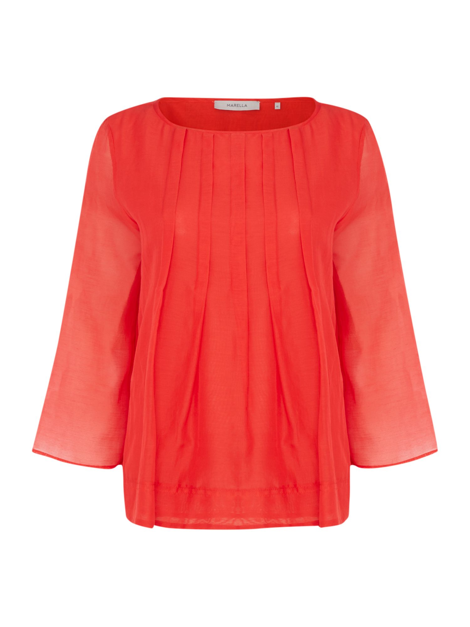 Marella LIQUORE 3/4 sleeve pleated front blouse, Red