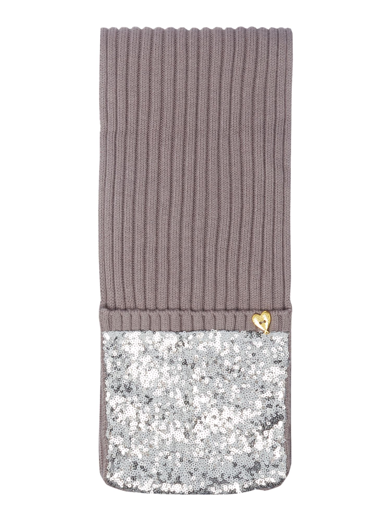 Angel's Face Angel's Face Girls Sequin Scarf mitten, Grey