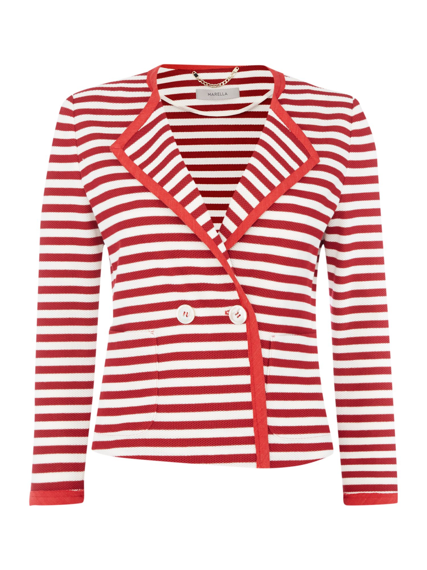 Marella ESTE Longsleeve cropped striped jacket, Red