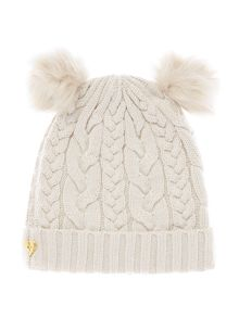 Angel's Face Girl`s Cable Hat with Pom Poms