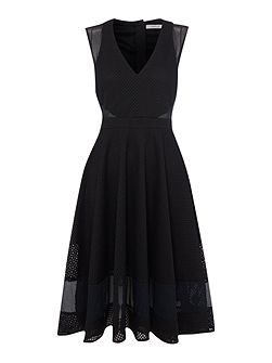 Body shortsleeve textured fit and flare dress