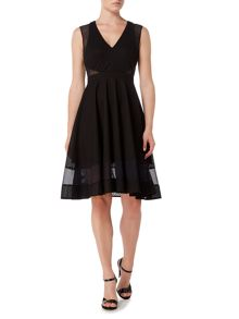Marella Body shortsleeve textured fit and flare dress
