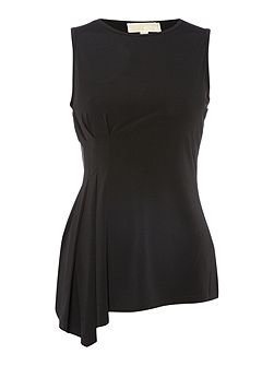 Sleeveless Asymetric Side Pleated Top