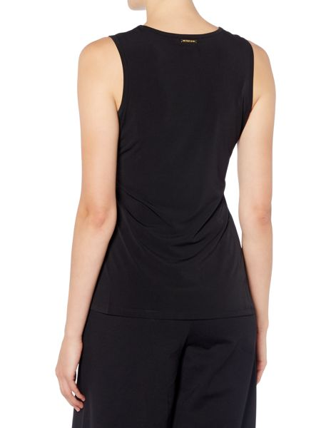 Michael Kors Sleeveless Asymetric Side Pleated Top