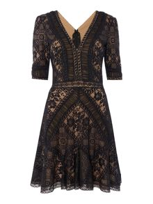 Tadashi Shoji V NECK ALL OVER LACE DRESS