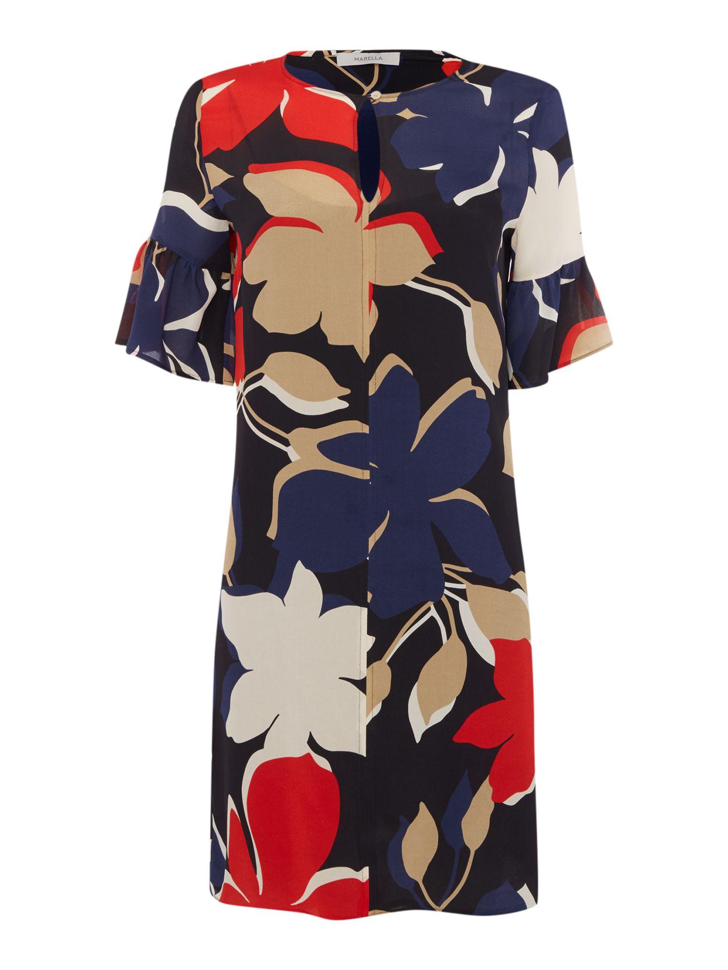 Marella ALARE bold floral print bell sleeve shift dress, Red