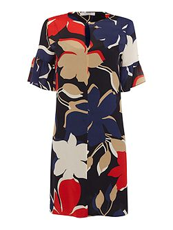 ALARE bold floral print bell sleeve shift dress