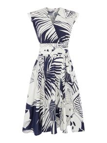 Marella CLIPPER printed cap sleeve cotton wrap dress