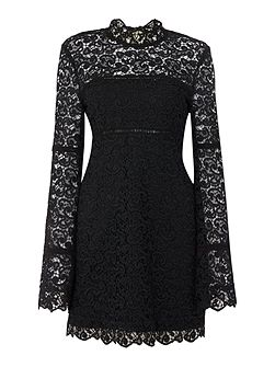Long Sleeved High Neck Lace Tunic Dress