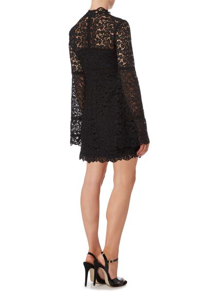 Bardot Long Sleeved High Neck Lace Tunic Dress