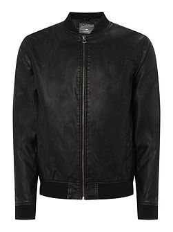 Zip-Through PU Bomber Jacket