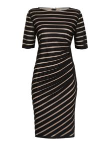 Linea Two tone ruched dress