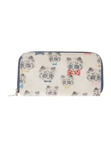 Disaster Meow print zip around purse