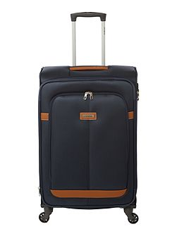 Caphir navy 4 wheel soft medium suitcase