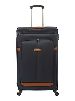 Caphir navy 4 wheel soft large suitcase