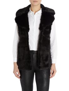 Denim and Supply Ralph Lauren Black faux fur gilet in black