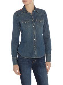 Denim and Supply Ralph Lauren Long sleeve western denim shirt in ranger wash