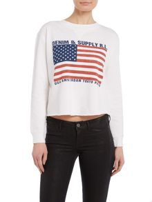 Denim and Supply Ralph Lauren Cropped American flag sweatshirt in white floral