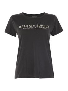 Denim and Supply Ralph Lauren Short sleeve logo carrier tee in black
