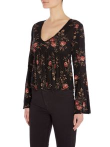 Denim and Supply Ralph Lauren Rose print bell sleeve v neck top in york floral