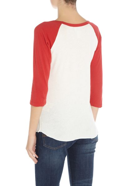 Denim and Supply Ralph Lauren 3/4 sleeve baseball tee in red and white